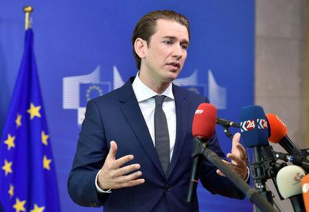 Federal Chancellor of Austria Sebastian Kurz speaks after arriving to take part in an emergency European Union leaders summit on immigration, in Brussels, Belgium June 24, 2018.  REUTERS/Eric Vidal