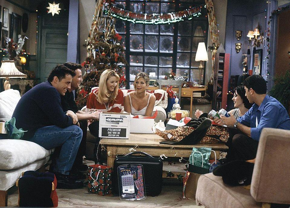 "<p>Holiday chaos is alive and well in this episode. From Ross's Slinky gift to Rachel (<strong>Jennifer Aniston</strong>) going terribly wrong, to Phoebe learning the truth about her father, to Monica's apartment becoming a sauna when Ross breaks off the radiator knob, there's no shortage of hilarity here.</p><p><a class=""link rapid-noclick-resp"" href=""https://www.amazon.com/gp/video/detail/B000KZFMZI/?tag=syn-yahoo-20&ascsubtag=%5Bartid%7C10063.g.35029576%5Bsrc%7Cyahoo-us"" rel=""nofollow noopener"" target=""_blank"" data-ylk=""slk:WATCH ON AMAZON"">WATCH ON AMAZON</a></p>"