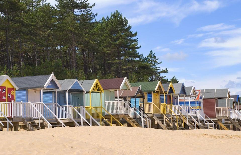 "<p>Just two miles along the coast from Holkham, you'll find the beautiful pine tree-backed fine sands of Wells Beach. In fact, you can actually walk between Holkham and Wells on a pine walk as part of the National Coast Path and Peddars Way. </p><p> Bedecked with pastel beach huts, it's family-friendly but appeals to everybody; you might even see seals basking on the sand banks. Set in an Area of Outstanding Natural Beauty, it's also a haven for birdwatchers. The harbour town of Wells-next-the-Sea is a charming spot for browsing (and buying ice cream), too.</p><p><strong>Where to stay:</strong> <a href=""https://go.redirectingat.com?id=127X1599956&url=https%3A%2F%2Fwww.booking.com%2Fhotel%2Fgb%2Fbang-in-wells.en-gb.html%3Faid%3D2070936%26label%3Dnorfolk-beaches&sref=https%3A%2F%2Fwww.prima.co.uk%2Ftravel%2Fg34688182%2Fnorfolk-beaches%2F"" rel=""nofollow noopener"" target=""_blank"" data-ylk=""slk:Bang in Wells"" class=""link rapid-noclick-resp"">Bang in Wells</a> is a great cheap and cheerful option that, as the name suggests, is right in town. </p><p><a class=""link rapid-noclick-resp"" href=""https://go.redirectingat.com?id=127X1599956&url=https%3A%2F%2Fwww.booking.com%2Fhotel%2Fgb%2Fbang-in-wells.en-gb.html%3Faid%3D2070936%26label%3Dnorfolk-beaches&sref=https%3A%2F%2Fwww.prima.co.uk%2Ftravel%2Fg34688182%2Fnorfolk-beaches%2F"" rel=""nofollow noopener"" target=""_blank"" data-ylk=""slk:CHECK AVAILABILITY"">CHECK AVAILABILITY</a></p><p>For more of a boutique vibe, <a href=""https://go.redirectingat.com?id=127X1599956&url=https%3A%2F%2Fwww.booking.com%2Fhotel%2Fgb%2Fbyfords.en-gb.html%3Faid%3D2070936%26label%3Dnorfolk-beaches&sref=https%3A%2F%2Fwww.prima.co.uk%2Ftravel%2Fg34688182%2Fnorfolk-beaches%2F"" rel=""nofollow noopener"" target=""_blank"" data-ylk=""slk:Byfords"" class=""link rapid-noclick-resp"">Byfords</a> and <a href=""https://go.redirectingat.com?id=127X1599956&url=https%3A%2F%2Fwww.booking.com%2Fhotel%2Fgb%2Fthe-hoste-luxury-boutique-hotel.en-gb.html%3Faid%3D2070936%26label%3Dnorfolk-beaches&sref=https%3A%2F%2Fwww.prima.co.uk%2Ftravel%2Fg34688182%2Fnorfolk-beaches%2F"" rel=""nofollow noopener"" target=""_blank"" data-ylk=""slk:The Hoste"" class=""link rapid-noclick-resp"">The Hoste</a> (12 minutes) are nearby.</p>"
