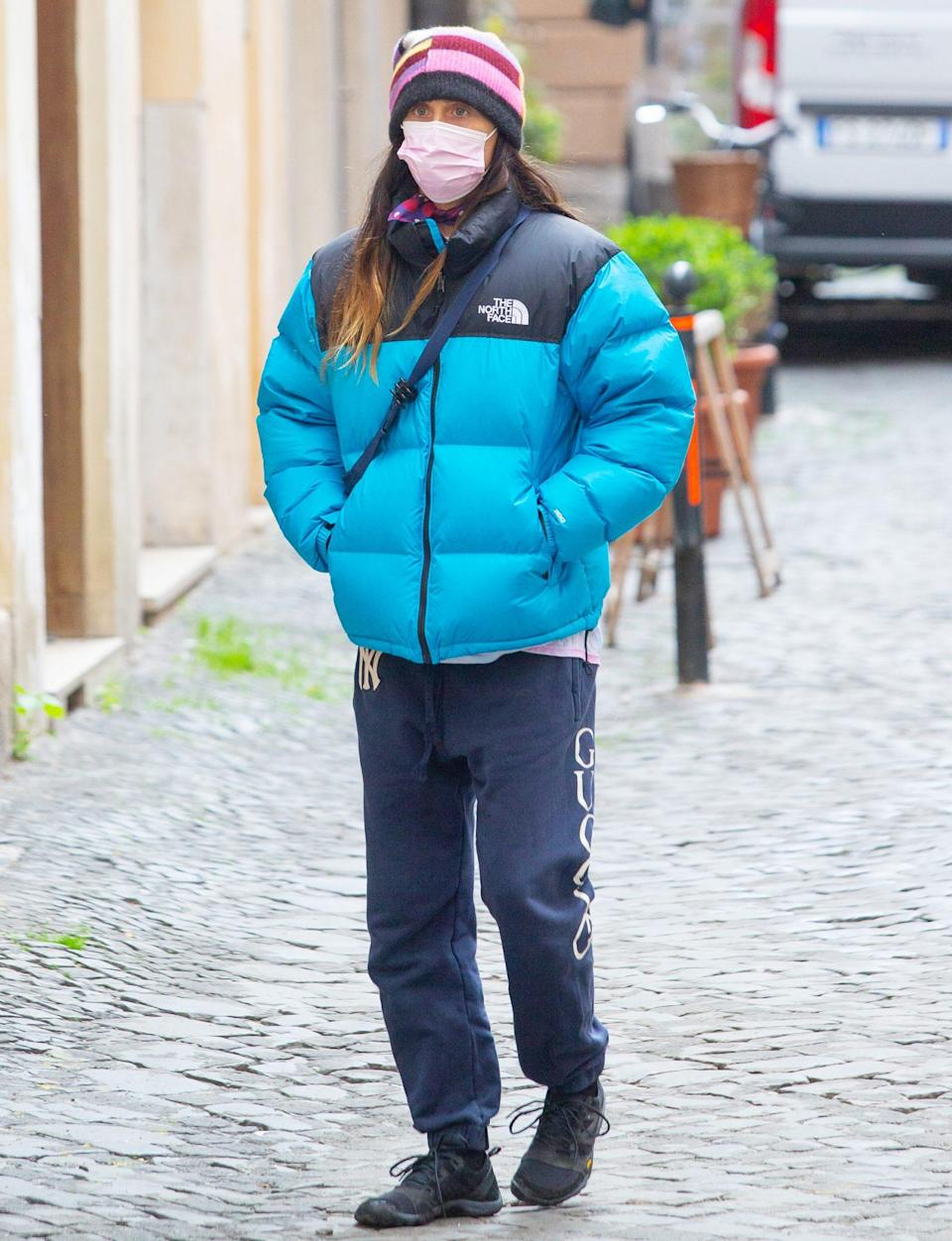 <p>Jared Leto, who's been cast in Ridley Scott's <em>House of Gucci</em>, is spotted out wearing a blue puffer and beanie on Wednesday.</p>