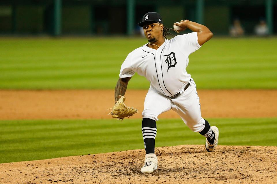 Tigers pitcher Gregory Soto throws against the Royals during the seventh  inning of the Tigers' 4-3 win at Comerica Park on Tuesday, July 28, 2020.