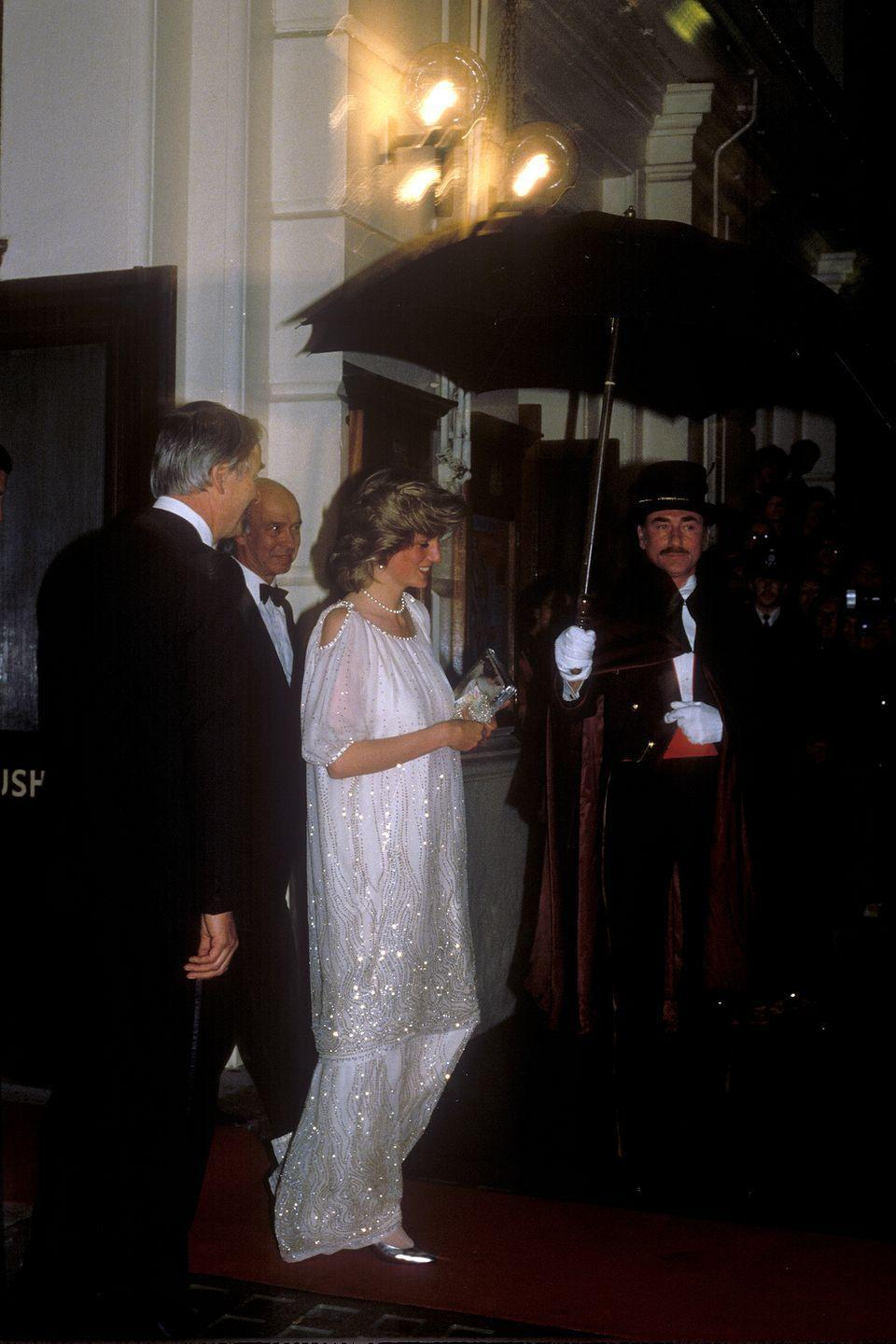 <p>For a more glamorous night—a May 1984 performance at the Royal Opera House, to be exact—the Princess opted for a stunning, glittering white gown.<br></p>