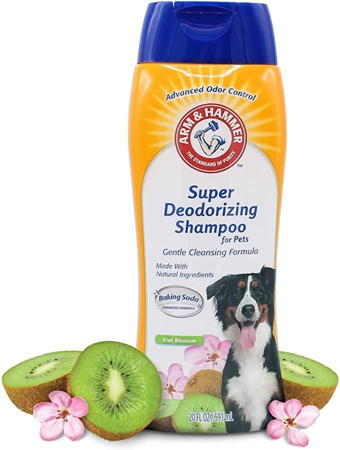 """<p><strong>Arm & Hammer </strong></p><p>amazon.com</p><p><strong>$3.97</strong></p><p><a href=""""https://www.amazon.com/dp/B07RVD63J1?tag=syn-yahoo-20&ascsubtag=%5Bartid%7C2164.g.36563635%5Bsrc%7Cyahoo-us"""" rel=""""nofollow noopener"""" target=""""_blank"""" data-ylk=""""slk:Shop Now"""" class=""""link rapid-noclick-resp"""">Shop Now</a></p><p>If your pup is particularly stinky, you can't go wrong with Arm & Hammer—just ask the thousands of Amazon shoppers who swear by it. Where coconut and honey work to deeply hydrate the skin, baking soda eliminates any lingering odors.</p>"""