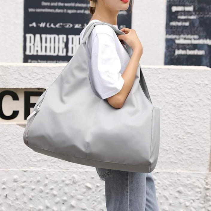 <p>The <span>Forestfish Duffel Bag Gym Tote</span> ($20) looks just like a chic oversized handbag. It has separate wet and dry pockets and a shoe compartment.</p>