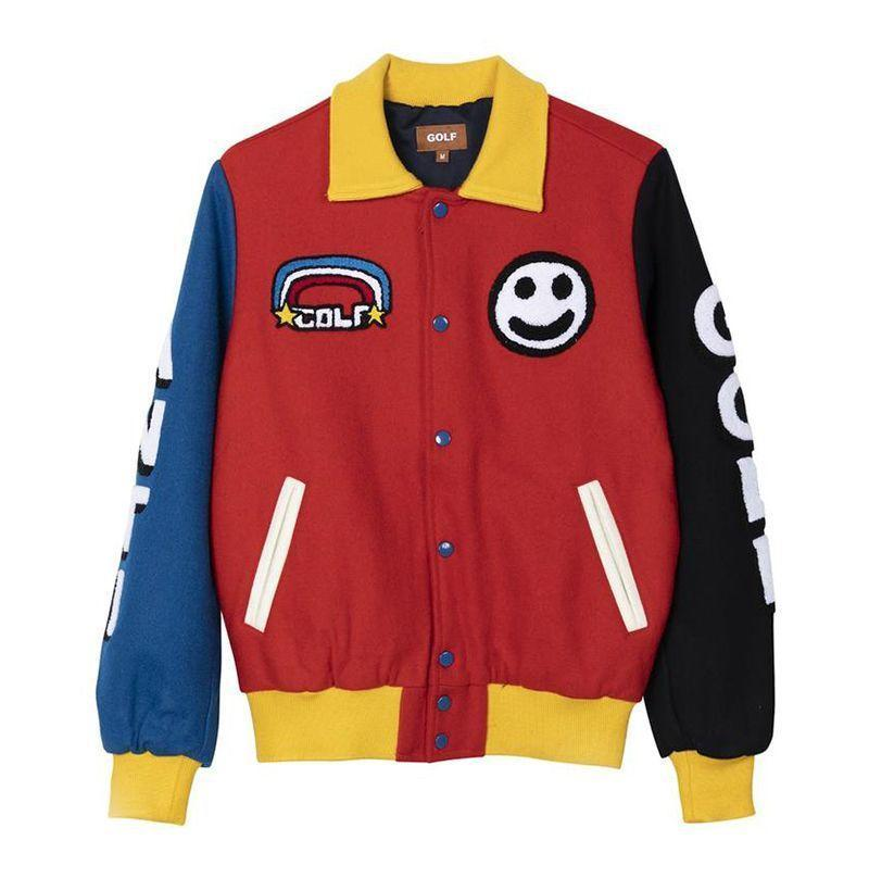 """<p><strong>Golf Wang</strong></p><p>golfwang.com</p><p><strong>$200.00</strong></p><p><a href=""""https://golfwang.com/collections/new/products/primary-varsity-jacket-by-golf-wang?variant=34840559190177"""" rel=""""nofollow noopener"""" target=""""_blank"""" data-ylk=""""slk:Buy"""" class=""""link rapid-noclick-resp"""">Buy</a></p><p><a href=""""https://www.esquire.com/style/mens-fashion/g31004566/tyler-the-creator-style-fashion-outfits/"""" rel=""""nofollow noopener"""" target=""""_blank"""" data-ylk=""""slk:Young T"""" class=""""link rapid-noclick-resp"""">Young T</a> FTW. </p>"""