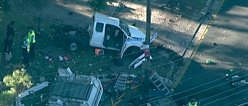 Pictured are debris scattered all over the road after the three-car crash. Source: Nine News