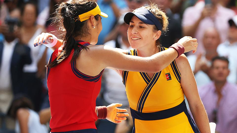 Emma Raducanu, pictured here being congratulated by Belinda Bencic after their quarter-final clash at the US Open.