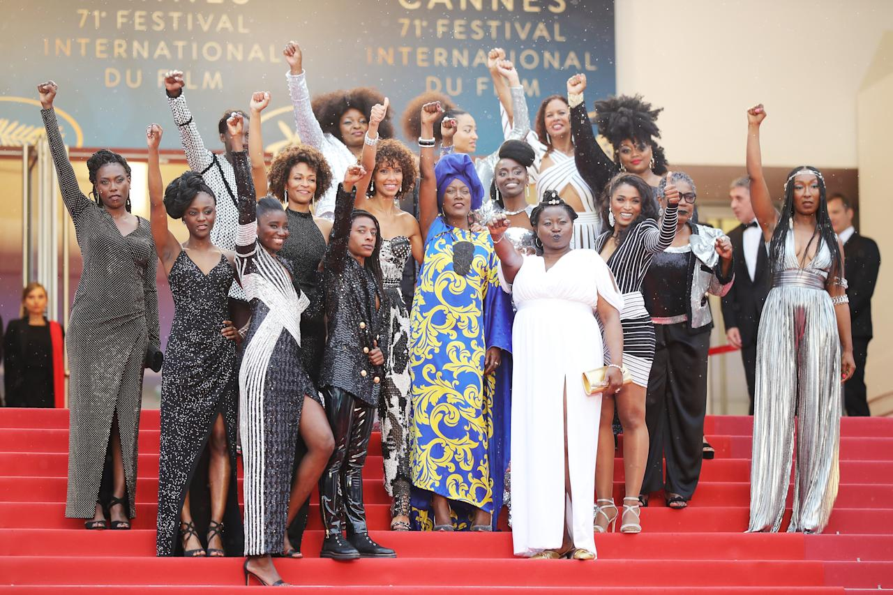 <p>Sul red carpet di Cannes ha sfilato il 'Black Women Power' durante il tappeto rosso del film coreano 'Burning'. (Getty Images) </p>