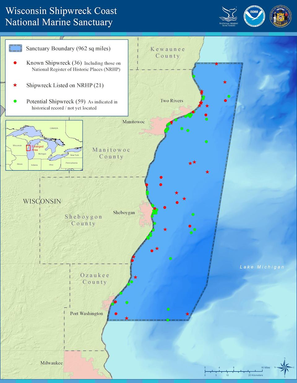 A map of the Wisconsin Shipwreck Coast National Marine Sanctuary.