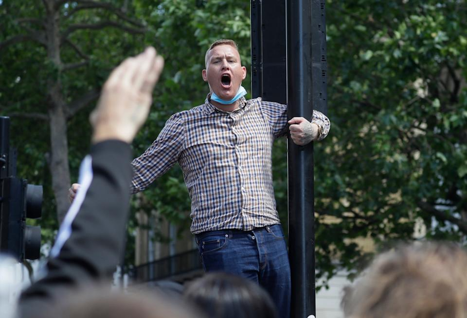 A protester in central London (AP)