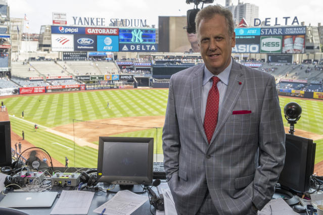 """<a class=""""link rapid-noclick-resp"""" href=""""/mlb/teams/ny-yankees/"""" data-ylk=""""slk:Yankees"""">Yankees</a> TV announcer Michael Kay """"scared"""" his return won't last after vocal cord surgery. (AP/Mary Altaffer)"""