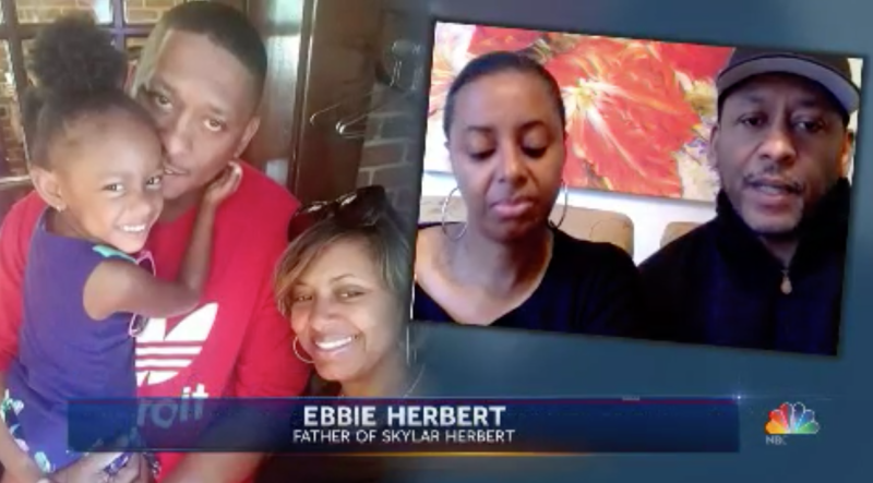 Police officer LaVondria Herbert and husband Ebbie, a fire fighter were shocked to learn their 5-year-old daughter tested positive for COVID-19. (Image via NBC News).