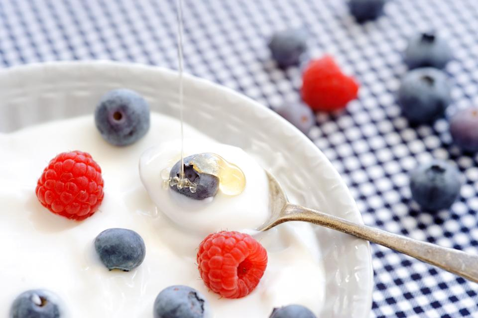 """A happy gut means a healthy immune system. Reach for probiotic supplements or yogurt. Probiotics can <a href=""""http://www.dailymail.co.uk/health/article-1281141/Probiotics-good-digestion-But-combat-flu-allergies-bad-breath.html"""" target=""""_blank"""">boost the immune system and increase resistance to the cold and flu by producing antibiotics.</a>"""