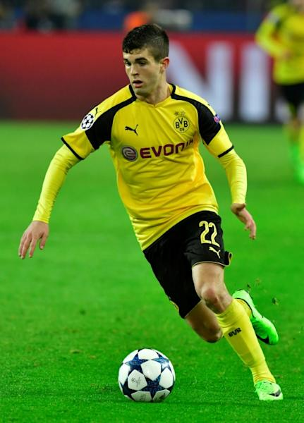 Dortmund's Christian Pulisic, seen in action during their UEFA Champions League round of 16, 2nd leg match against Benfica, in Dortmund, on March 8, 2017