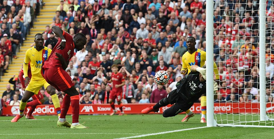Sadio Mane scores Liverpool's first goal against Crystal Palace during their Premier League match at Anfield.