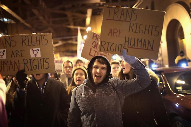 Demonstrators protest for transgender rights on March 3, 2017 in Chicago, Illinois