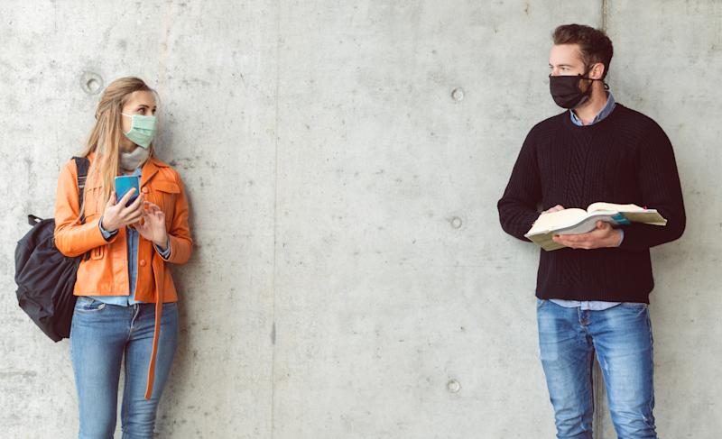 Health experts recommend that parents of college students emphasize the risks of COVID-19 and the importance of wearing masks and social distancing. (Photo: Getty Creative stock image)