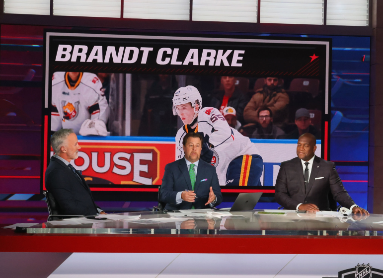 NHL Network announcers discuss the Kings selecting Brandt Clarke eighth overall in the NHL draft July 23, 2021.