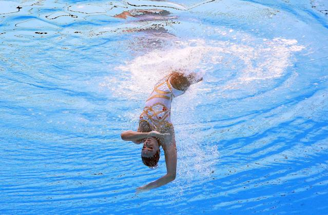 <p>Camila Maria Arregui of Argentina competes in the synchronized Solo Technical Women Preliminary at the 17th FINA World Aquatics Championships in, Budapest, Hungary, July 14, 2017. (Photo: Michael Dalder/Reuters) </p>