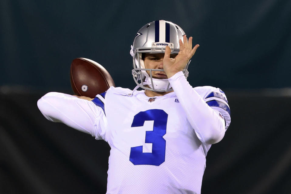 Dallas Cowboys' Garrett Gilbert (3) warms up before an NFL football game against the Philadelphia Eagles, Sunday, Nov. 1, 2020, in Philadelphia. The Cowboys will have their fourth different starting quarterback of the season against undefeated Pittsburgh with Andy Dalton unavailable because of COVID-19 protocols. Coach Mike McCarthy said Wednesday he was benching rookie Ben DiNucci in favor of either Garrett Gilbert or Cooper Rush. Gilbert and Rush will compete for the job in practice, and one will start Sunday at home against the Steelers (7-0).(AP Photo/Rich Schultz)