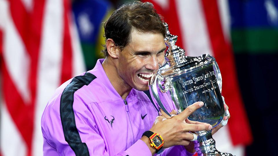 Rafael Nadal is pictured here with his 2019 US Open title.