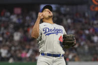 Los Angeles Dodgers pitcher Brusdar Graterol reacts after San Francisco Giants' Wilmer Flores lined out to end the sixth inning of a baseball game in San Francisco, Tuesday, July 27, 2021. (AP Photo/Jeff Chiu)