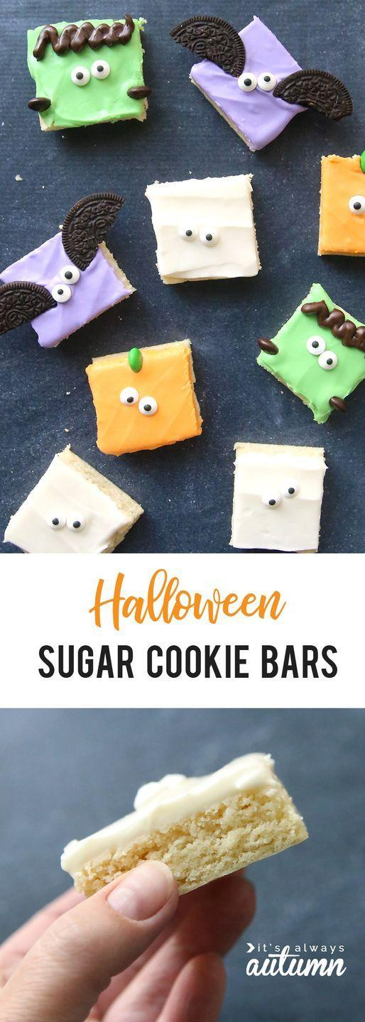 """<p>A few clever toppings—sugar eyes, piped frosting, and chocolate cookies—turn your standard cookie bars into ghoulish creatures fit for a Halloween-themed event.<br></p><p><a class=""""link rapid-noclick-resp"""" href=""""https://www.itsalwaysautumn.com/halloween-sugar-cookie-bars-easy.html"""" rel=""""nofollow noopener"""" target=""""_blank"""" data-ylk=""""slk:GET THE RECIPE"""">GET THE RECIPE</a></p>"""