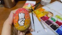 Social media image of an Easter egg painted with a three-finger salute as part of a campaign for an Easter egg protest against military rule in Yangon, Myanmar