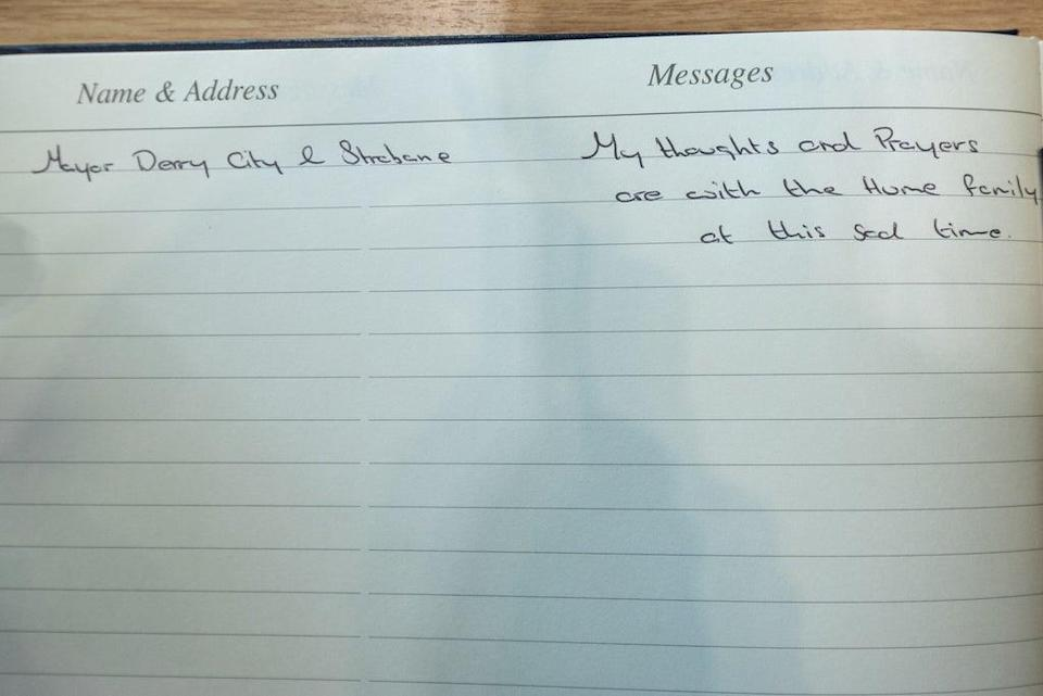 Handout photo issued by Derry and Strabane District Council of the message left by Derry City and Strabane District Council Mayor, Alderman Graham Warke, in the Book of Condolence for Pat Hume in the Guildhall in Londonderry (PA) (PA Media)