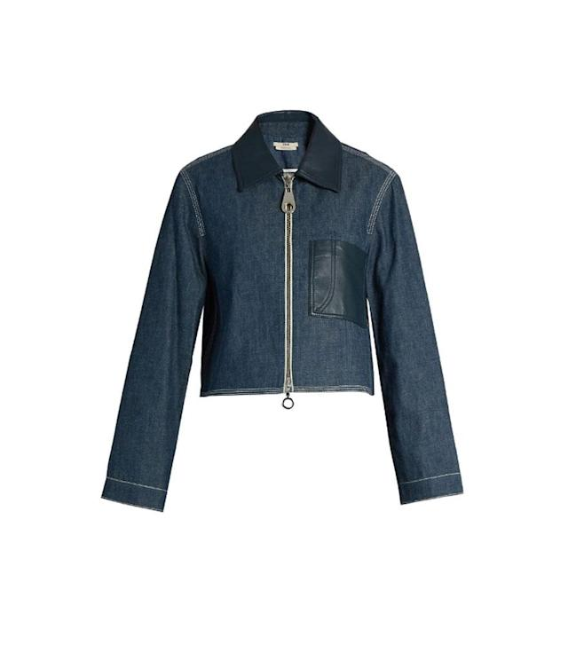 "<p>Point Collar Patch Pocket Denim Jacket, $708 (on sale $354),<a href=""https://www.matchesfashion.com/us/products/Edun-Point-collar-patch-pocket-denim-jacket-1054764"" rel=""nofollow noopener"" target=""_blank"" data-ylk=""slk:matchesfashion.com"" class=""link rapid-noclick-resp""> matchesfashion.com</a> </p>"