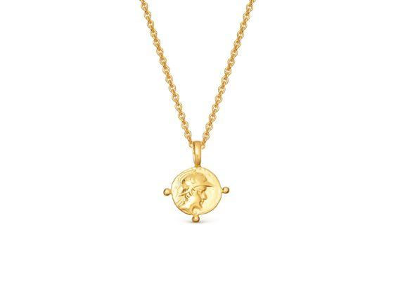 "$97, Missoma. <a href=""https://www.missoma.com/necklaces/short-necklaces/gold-mini-roman-coin-necklace/4912/"">Get it now!</a>"