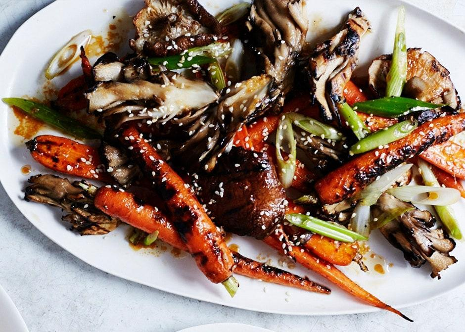"The nutty, woodsy mushrooms play up the sweetness of the carrots. Memorize the dressing—it's great on pretty much everything. <a href=""https://www.bonappetit.com/recipe/grilled-mushrooms-and-carrots-with-sesame?mbid=synd_yahoo_rss"" rel=""nofollow noopener"" target=""_blank"" data-ylk=""slk:See recipe."" class=""link rapid-noclick-resp"">See recipe.</a>"