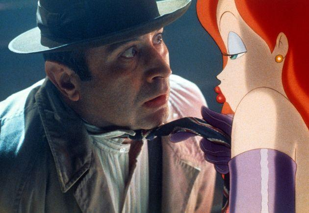 Bob Hoskins is seduced by Jessica Rabbit in a scene from the film 'Who Framed Roger Rabbit', 1988. (Photo by Buena Vista/Getty Images) (Photo: Archive Photos via Getty Images)
