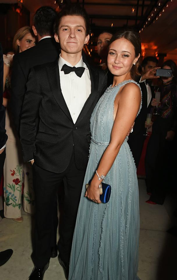 """<p>Another rumored relationship for Tom was with fellow actress Ella Purnell, with whom he got pretty cozy at the BAFTA afterparty in February 2017. According to <strong>The Sun</strong>, <a href=""""http://www.thesun.co.uk/tvandshowbiz/2856866/tom-holland-and-ella-purnell-set-tongues-wagging-with-bafta-after-after-party-at-posh-london-hotel/"""" target=""""_blank"""" class=""""ga-track"""" data-ga-category=""""Related"""" data-ga-label=""""http://www.thesun.co.uk/tvandshowbiz/2856866/tom-holland-and-ella-purnell-set-tongues-wagging-with-bafta-after-after-party-at-posh-london-hotel/"""" data-ga-action=""""In-Line Links"""">the two were attached at the hip</a> following the event (where Tom won the Rising Star award) and may have even left together. A source claimed, """"Tom and Ella were very close inside the Weinstein party and it looked really obvious that he was taken by her,"""" noting that Tom was """"leading her around the dance floor by the hand."""" Nothing more was ever heard about this maybe-couple after the party, so it may have been a one-night romance. </p>"""