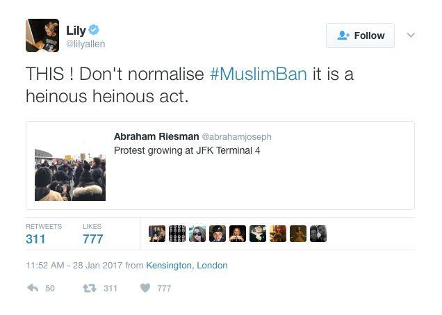"Singer Lily Allen took to social media to express her opinion about the immigration ban, calling it ""a heinous act."""