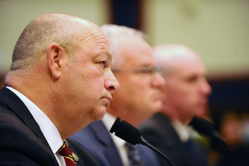 "Federal Aviation Administration (FAA) Administrator Stephen Dickson testifies before a House Transportation and Infrastructure Committee hearing on ""The Boeing 737 MAX: Examining the Federal Aviation Administration's Oversight of the Aircraft's Certification."" at the Rayburn House office building in Washington, U.S., December 11, 2019. REUTERS/Mary F. Calvert"