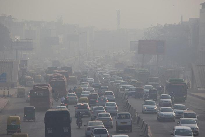 The world's most polluted capital city is blanketed in a toxic smog of car fumes, agricultural smoke and factory waste most winters, but it is less severe in summer months (AFP Photo/XAVIER GALIANA)