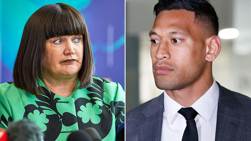 Pictured here, former Rugby Australia CEO Raelene Castle and Israel Folau.
