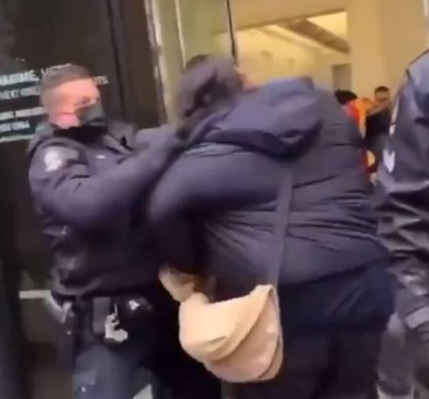 Video posted to social media showing protesters clashing with VPD officers has led to a review of the officers' actions by the department's professional standards section.