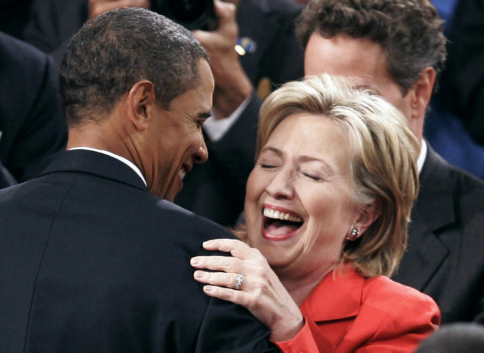 <p>President Barack Obama greets U.S. Secretary of State Hillary Clinton before he addresses a joint session of Congress on health care reform in September 2009. (Photo: Joshua Roberts/Reuters)</p>