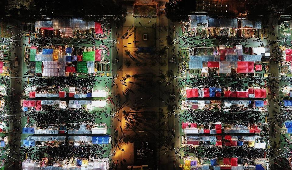 An aerial view of the Lunar New Year fair at Victoria Park in Causeway Bay in 2018. Photo: Roy Issa