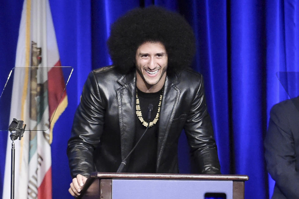 Colin Kaepernick attends the 2017 ACLU SoCal's Bill of Rights Dinner in Beverly Hills, Calif., on Dec. 3, 2017. (Richard Shotwell/Invision/AP)