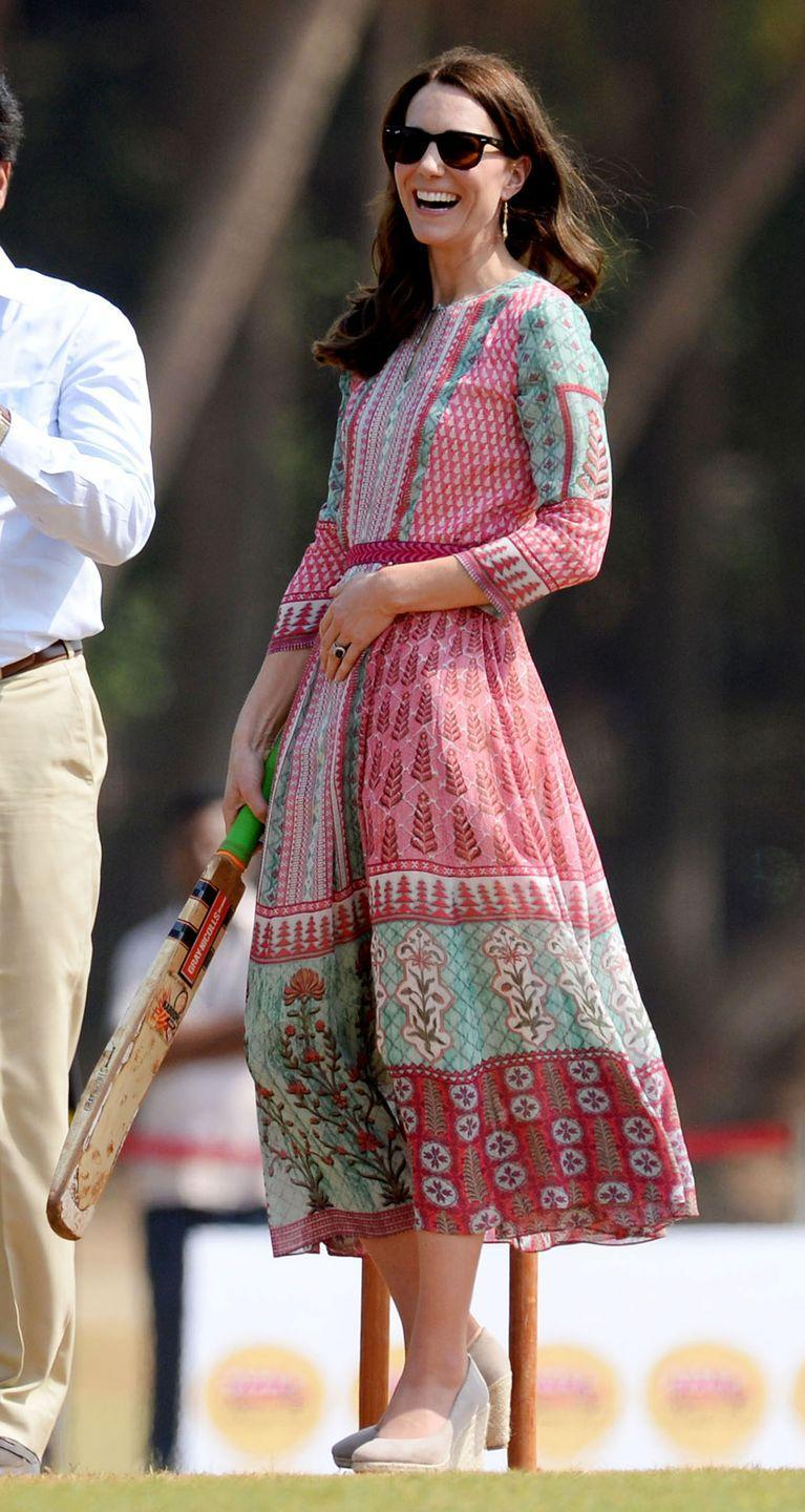 "<p>Kate participated in a game of cricket in Mumbai wearing a bright patterned dress is by <a href=""https://shop.anitadongre.com/"" rel=""nofollow noopener"" target=""_blank"" data-ylk=""slk:Anita Dongre"" class=""link rapid-noclick-resp"">Anita Dongre</a>.</p>"