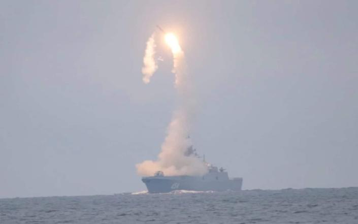 The Tsirkon hypersonic cruise missile is launched from the Russian guided missile frigate Admiral Gorshkov on October 7 - Reuters