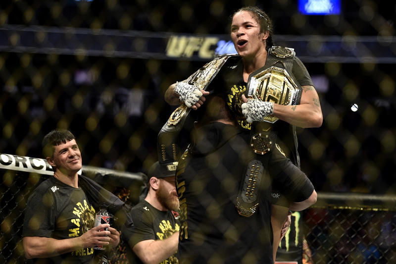 LAS VEGAS, NEVADA - DECEMBER 14: Amanda Nunes of Brazil celebrates her win over Germaine de Randamie of Netherlands in their UFC women's bantamweight championship bout during the UFC 245 event at T-Mobile Arena on December 14, 2019 in Las Vegas, Nevada. (Photo by Chris Unger/Zuffa LLC)