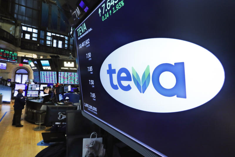 The logo for Teva appears above a trading post on the floor of the New York Stock Exchange, Monday, Oct. 21, 2019. The nation's three dominant drug distributors and a big drugmaker have reached an over $200 million deal to settle a lawsuit related to the opioid crisis just as the first federal trial over the crisis was due to begin Monday. Drugmaker Teva would contribute $20 million in cash and $20 million worth of suboxone, a drug used to treat opioid addiction. (AP Photo/Richard Drew)