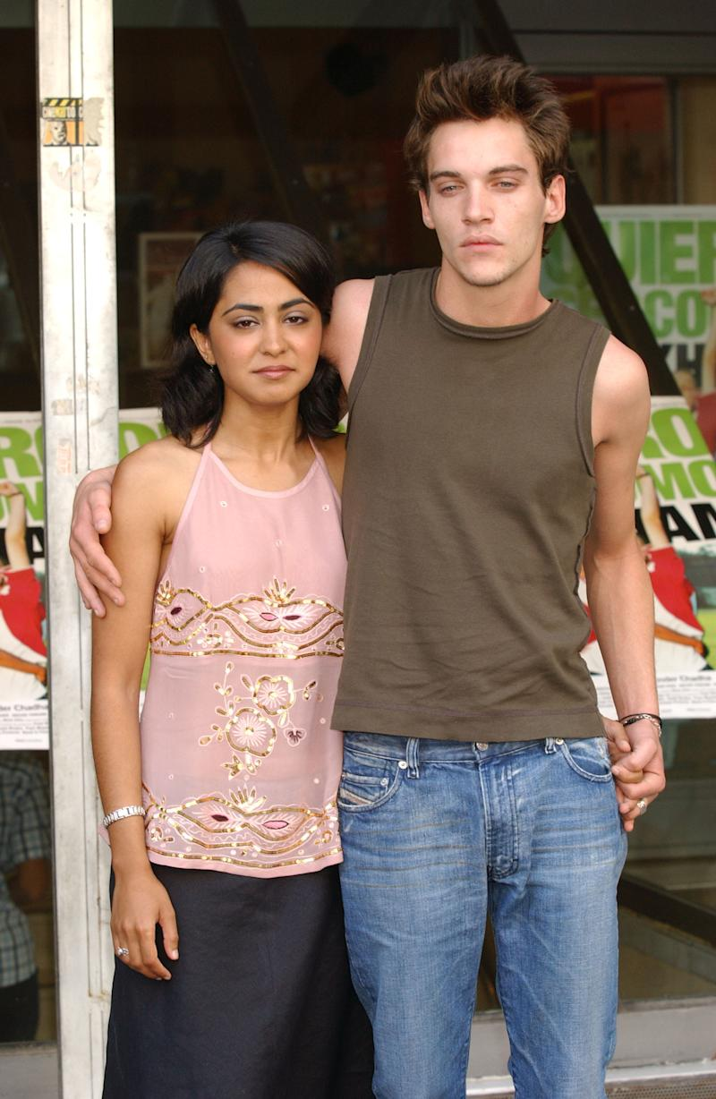 "MADRID, SPAIN - AUGUST 18: Actors Jonathan Rhys Meyers and Parminder Nagra attend the photo call for the Spanish promotion of their new movie ""Bend It Like Beckham"" August 21, 2002 in Madrid, Spain. (Photo by Carlos Alvarez/Getty Images)"