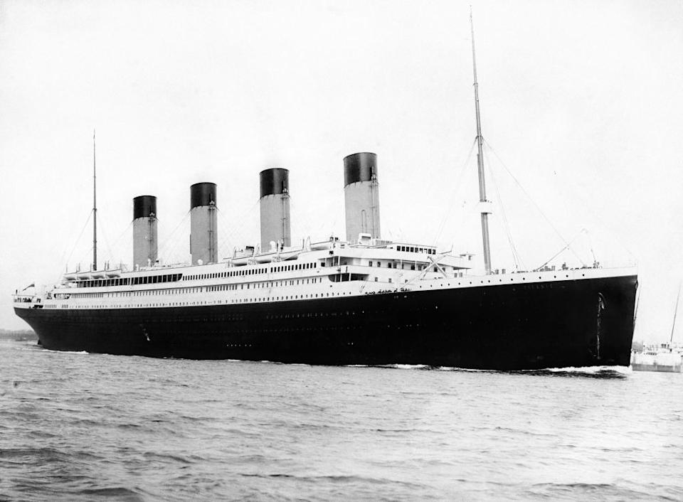 A black and white photograph from 1912 of the RMS Titanic.