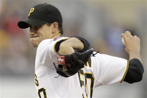 Pittsburgh Pirates pitcher Charlie Morton (50) delivers during the second inning of a baseball game against the Houston Astros in Pittsburgh, Saturday, May 12, 2012. (AP Photo/Gene J. Puskar)