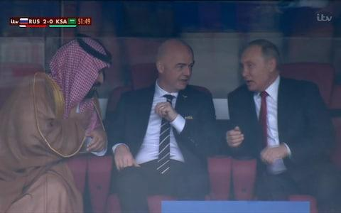 Saudi crown prince and Putin - Credit: ITV Sport
